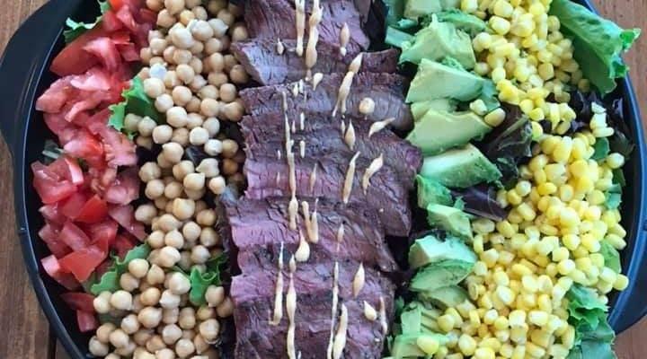 Colorful Grilled Steak Summer Salad Platter